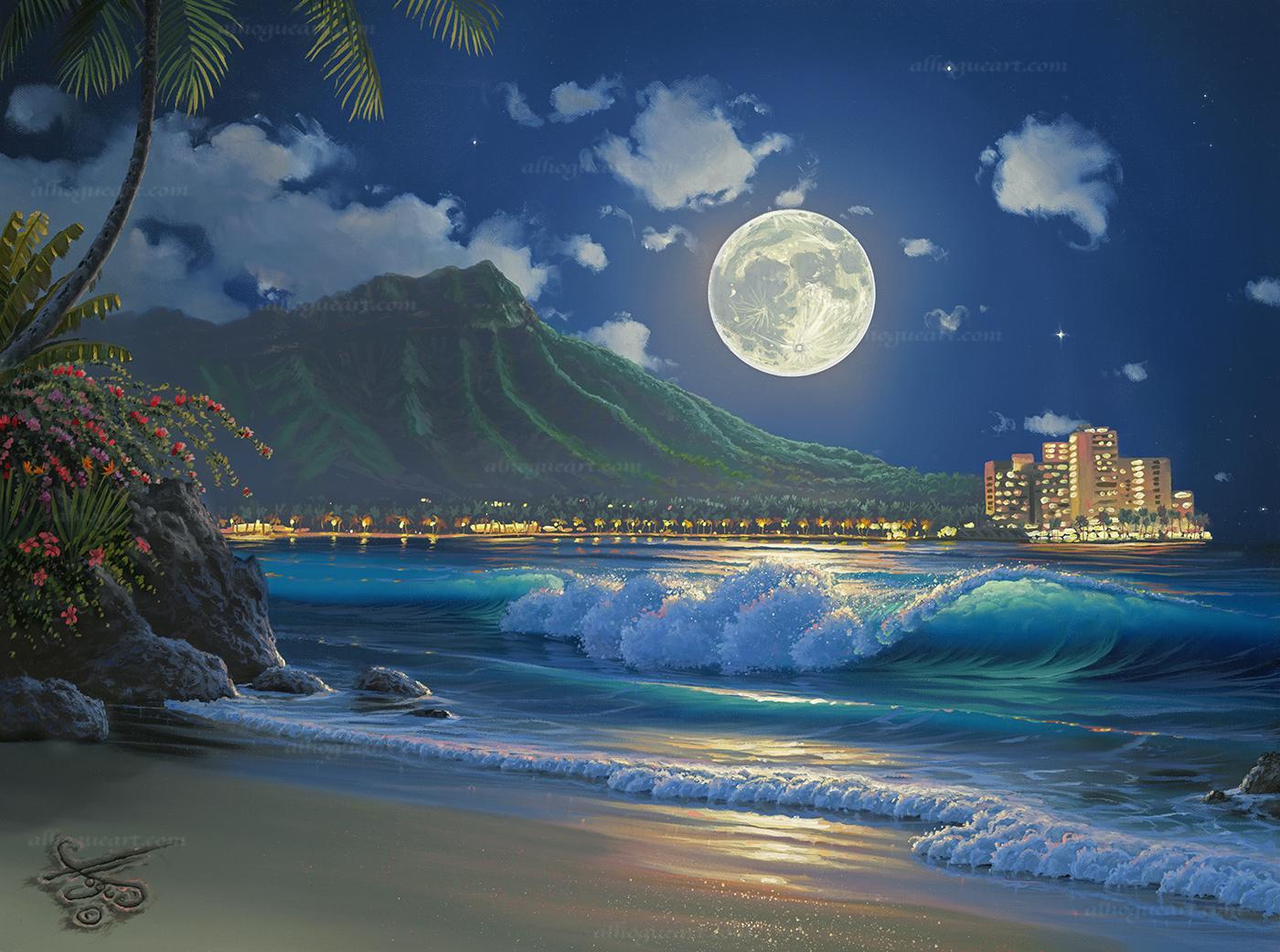 """Waikiki Surf Aglow""  PP 18X24 100  AC 22.25X30 200  Total 300"