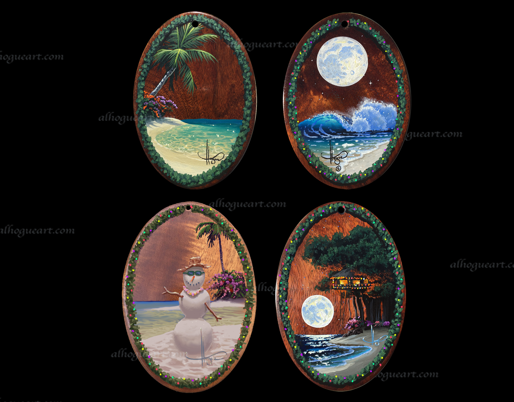 "5""x 7"" set of Heirloom Christmas ornament - original oil panting on Hawaiian Koawood"
