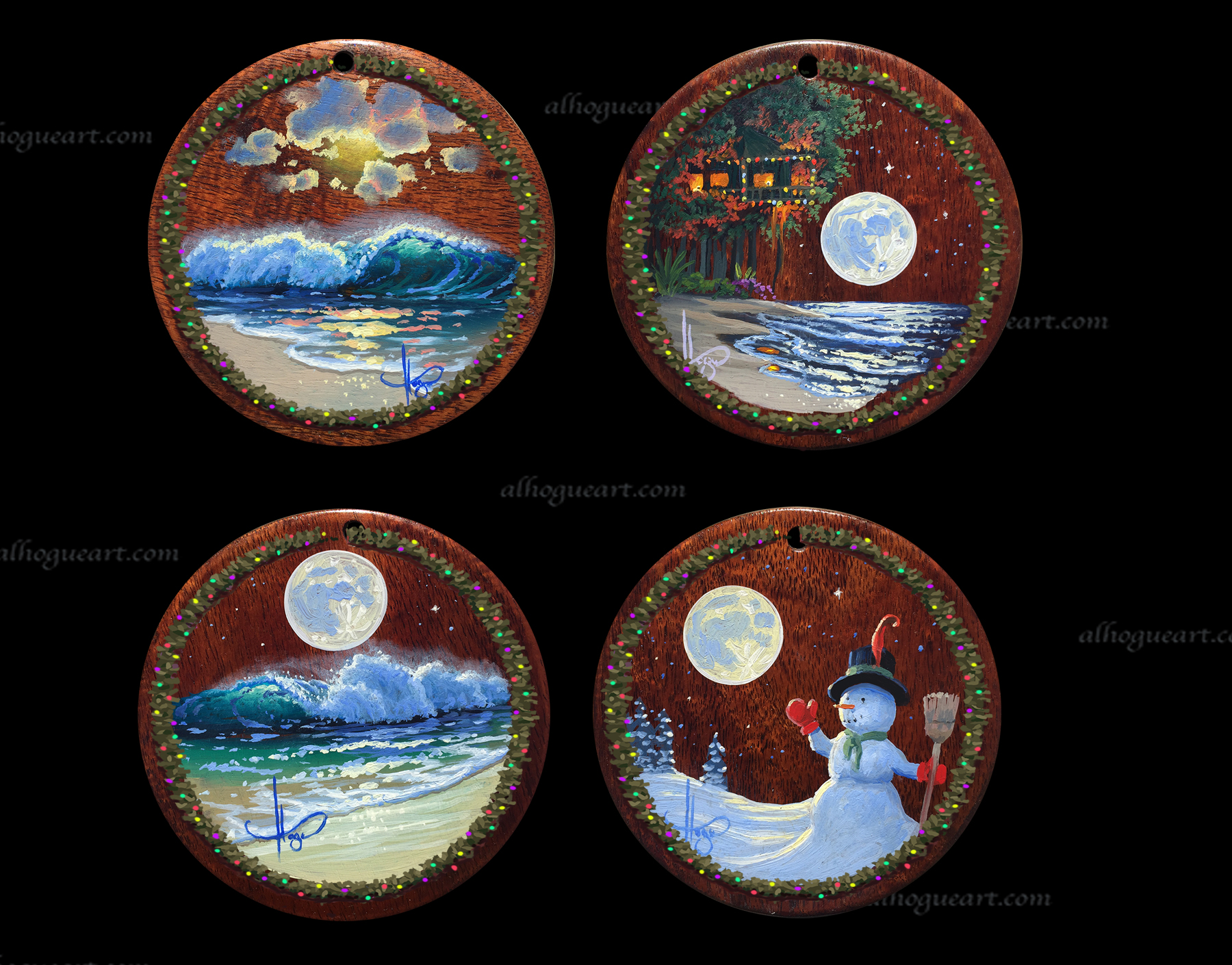 "5""x 5"" set of Heirloom Christmas ornaments - original oil panting on Hawaiian Koawood"