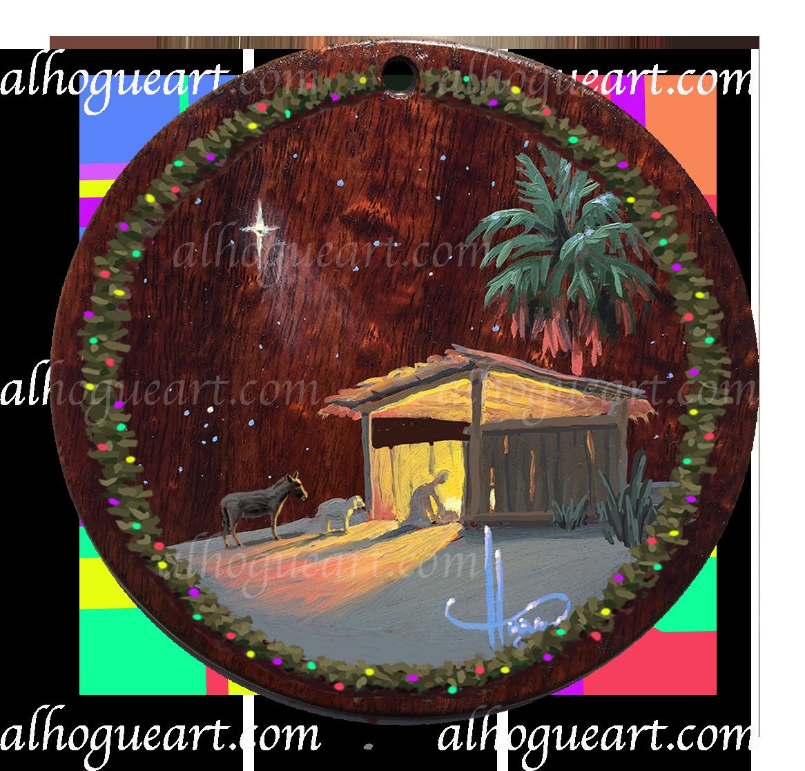 "5""x 5"" Heirloom Christmas ornament - original oil panting on Hawaiian Koawood"
