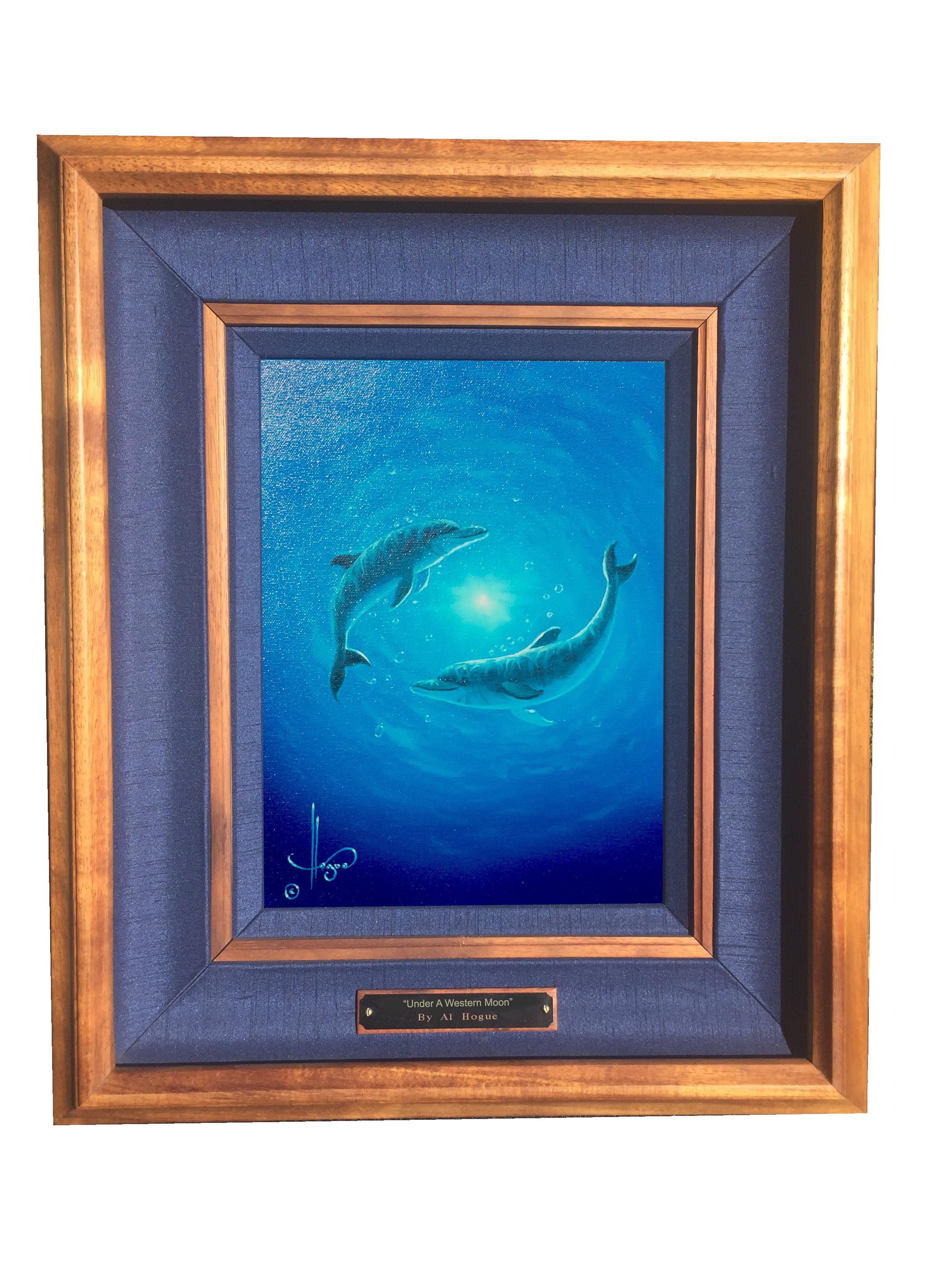 """Dolphin Dance"" 9x12 oil on canvas    ( framed in solid Hawaiian Koa wood )"