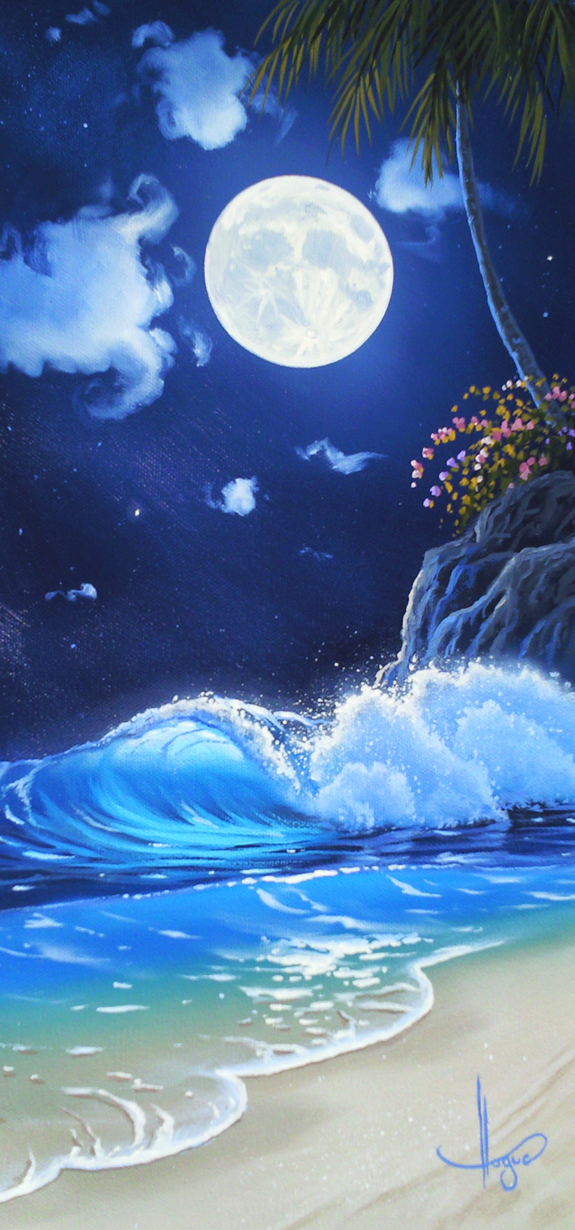 """Surf Aglow"" 12x24 oil in privet collection"