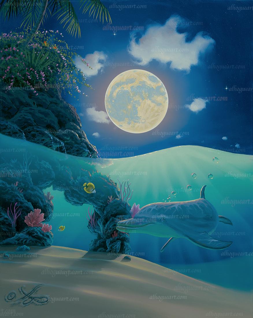 """Dolphin Moon Beams"" 16 x 20 oil"