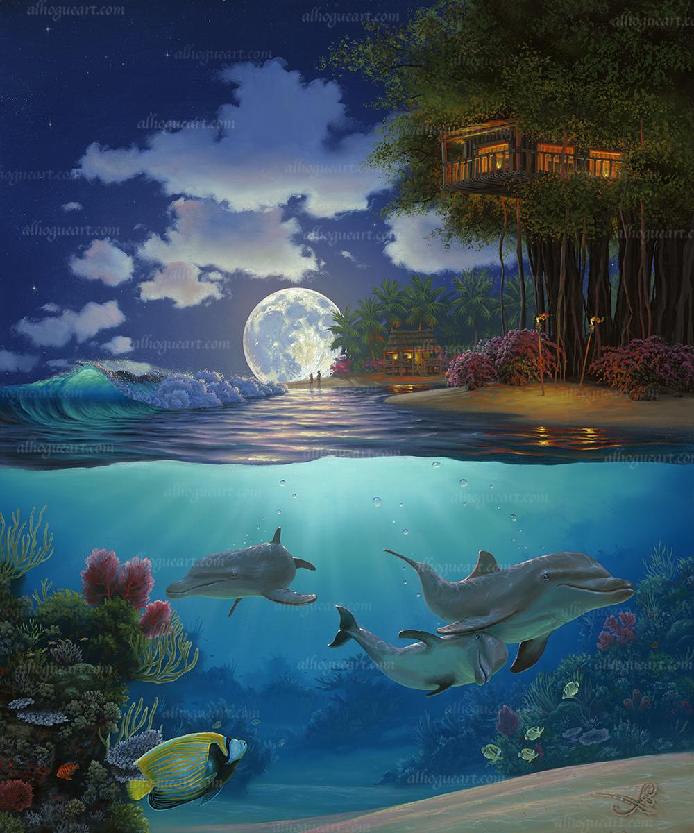 """""""Moonlit Sanctuary"""" 24 x 30 oil"""