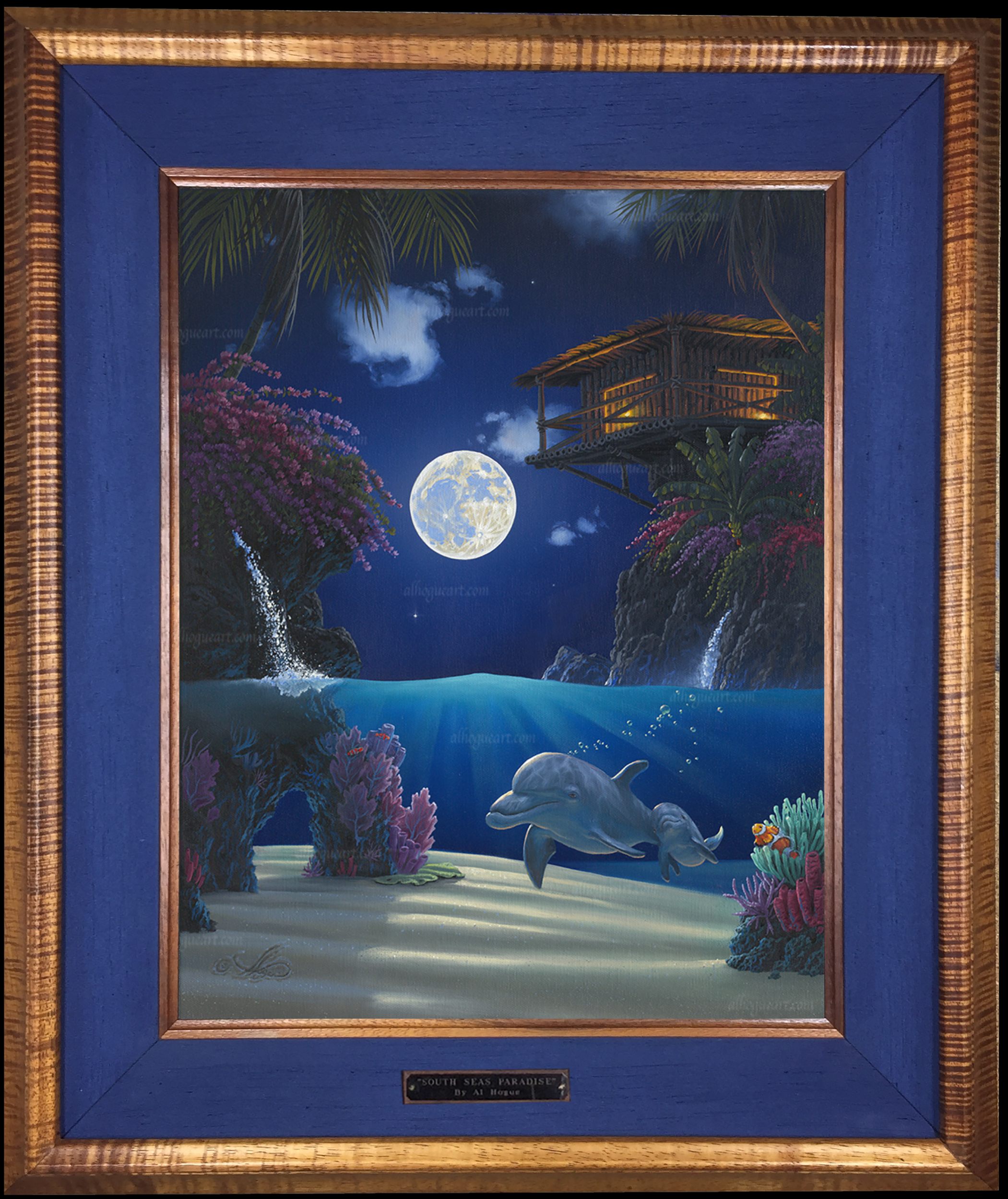 """Journey in Paradise"" 16 x 20 oil on canvas ( framed in a Hawaiian Koawood frame )"