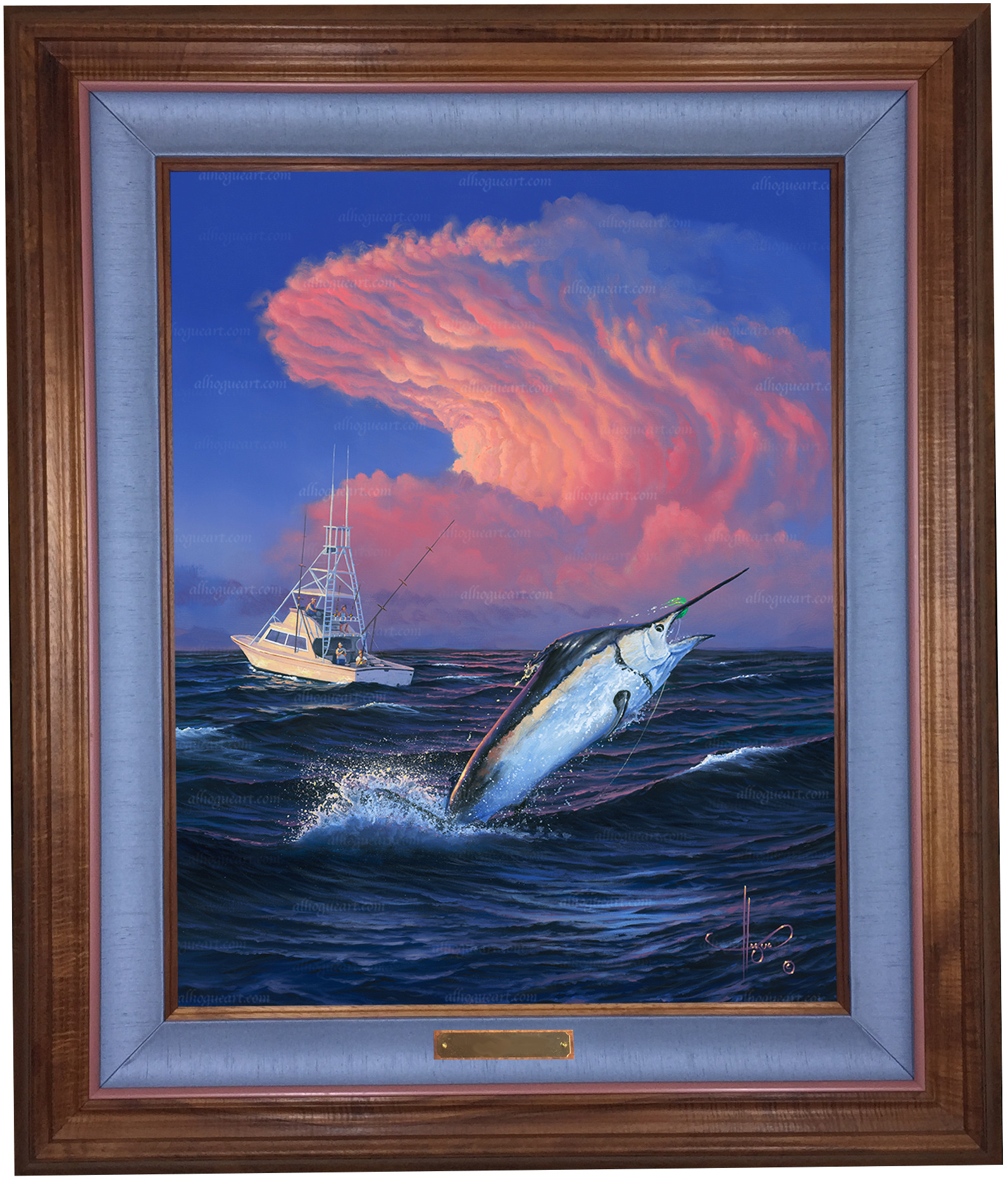 """Skirting the Storm"" 24 x 30 oil on canvas ( framed in a Hawaiian Koawood frame )"