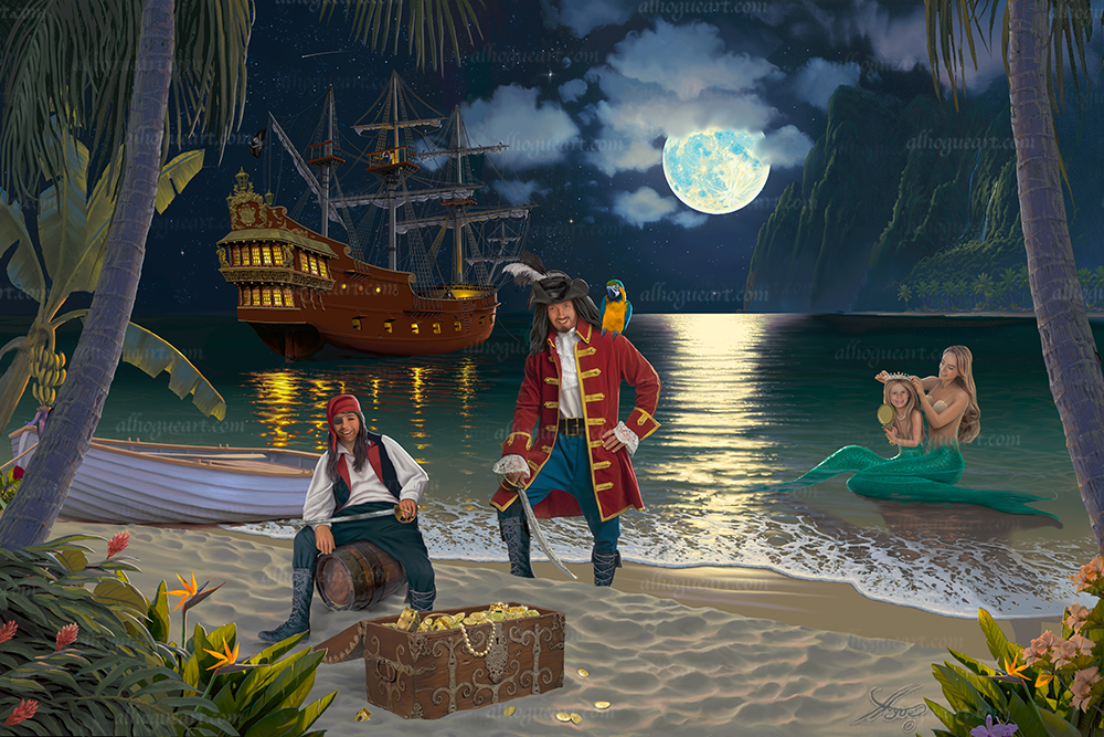 """Your Families Treasure Island"" My newest addition to my Fantasy Portrait line. Now you and your family can be in a swashbuckling adventure as Pirates and Mermaids."