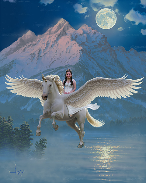 """Jillian's Mystical Journey"" Your Princess can ride a Unicorn above the moonlit mist."