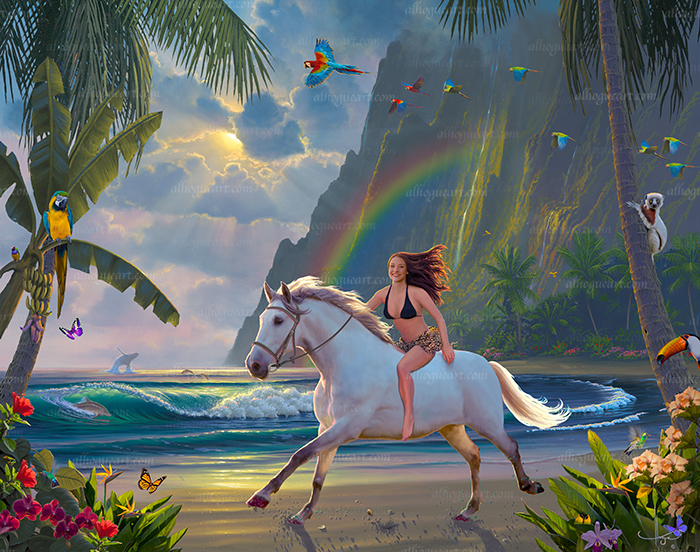 """Samantha's Tropical Adventure"" You or your loved ones can ride a horse on the beach in paradise."