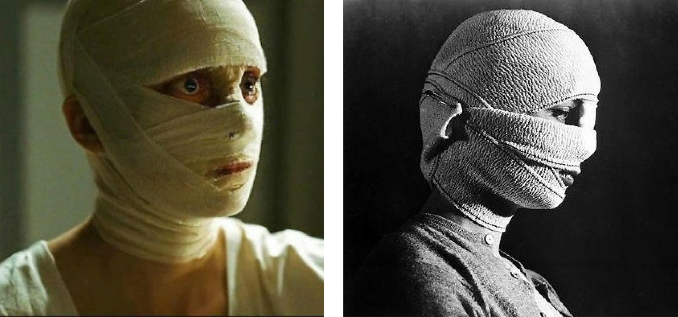 "Lost Identity in ""Phoenix"" and ""Eyes Without a Face"", side by side"