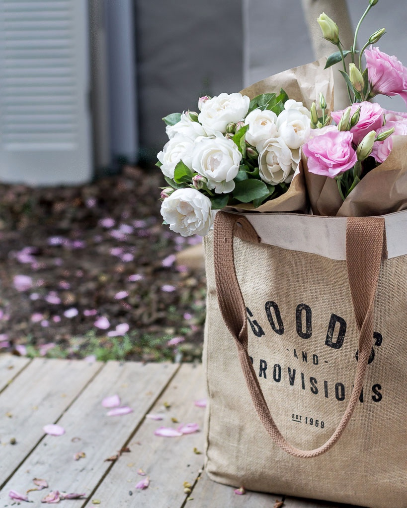 Fresh flowers from the market. Market bag by Now Design from The Colour Society.