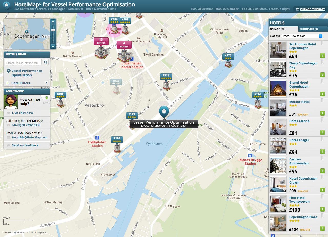 Copenhagen Hotelmap