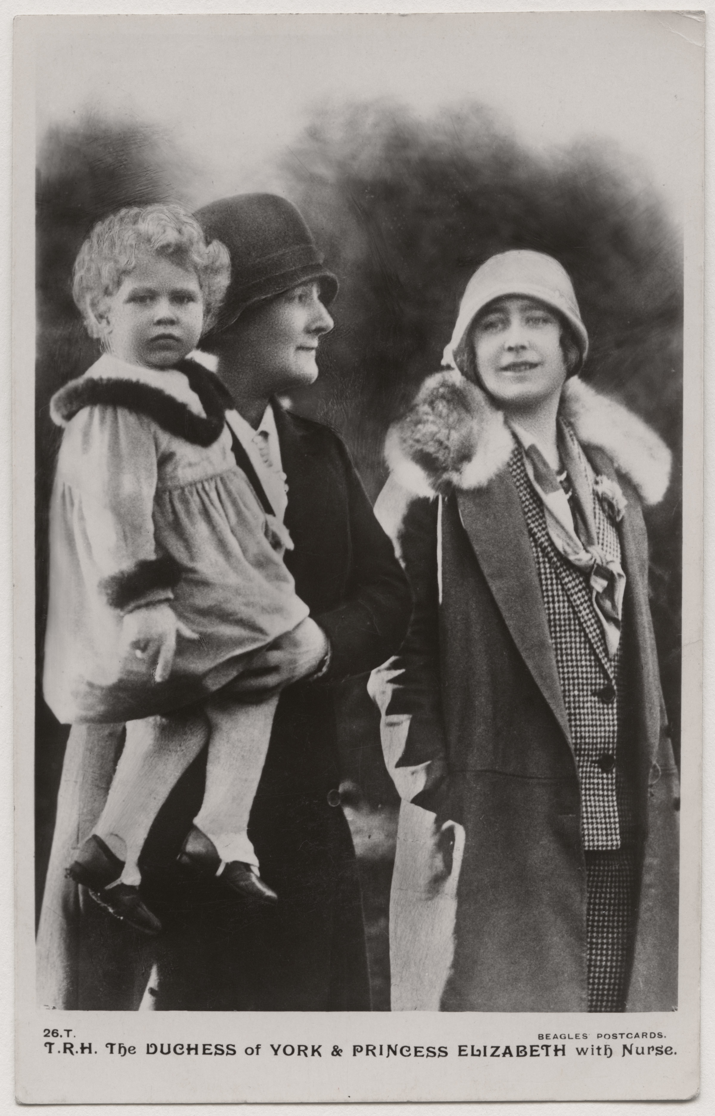 T.R.H. The Duchess of York & Princess Elizabeth with Nurse (probably Margaret 'Bobo') ©National Portrait Gallery, London