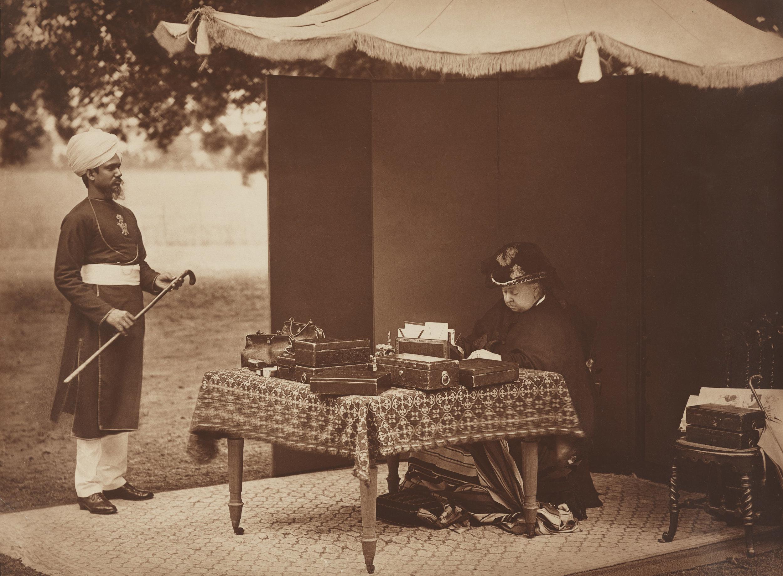 Sheikh Chidda, Abdule Karim and Queen Victoria, 1893 © National Portrait Gallery, London