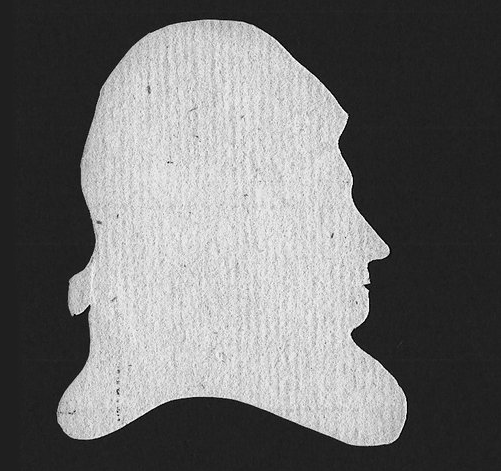 A silhouette of Richard Hall, made by his daughter Martha.