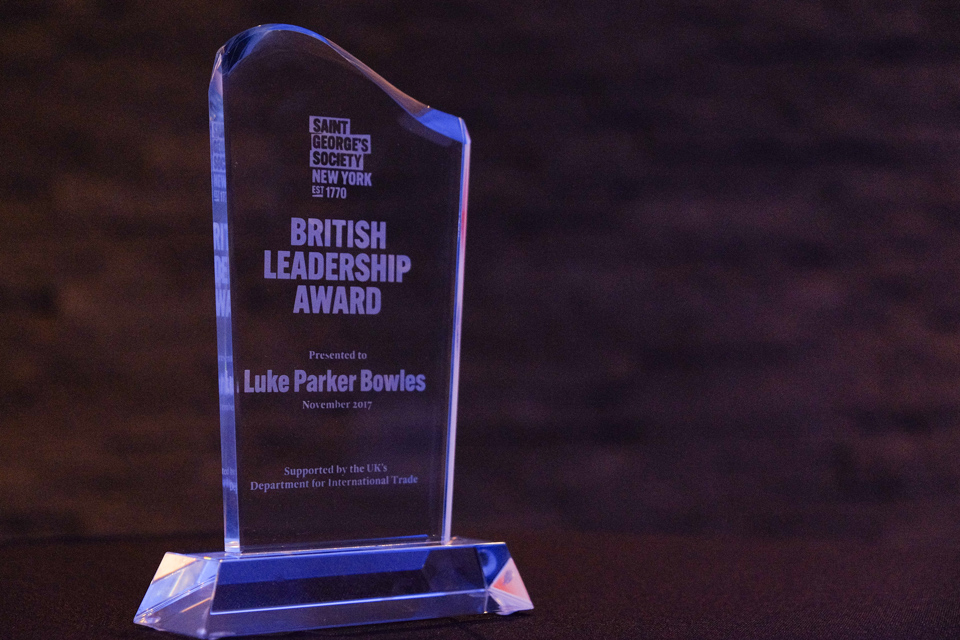 BRITISH LEADERSHIP AWARD - Presented at the British Bash on Wednesday 4th December 2019