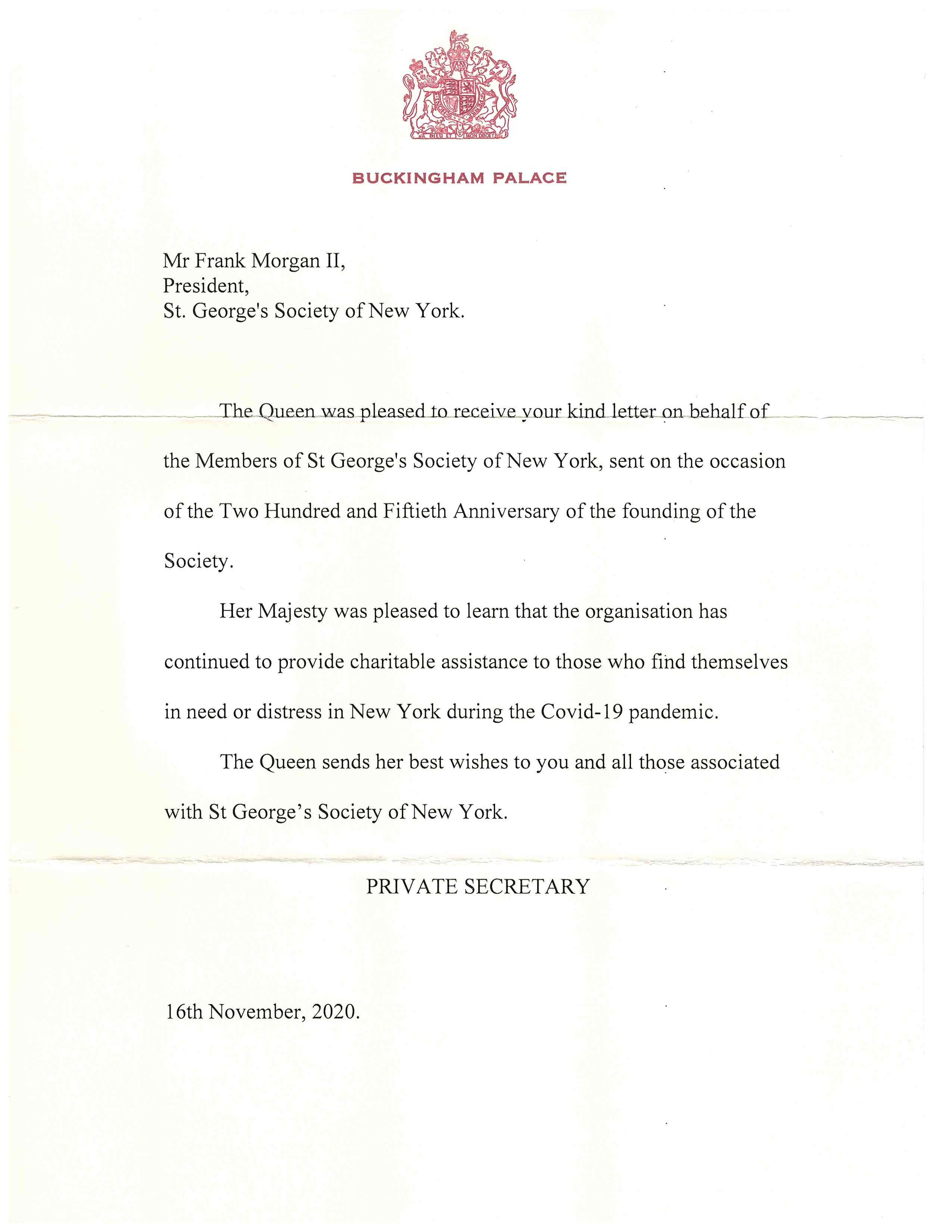 Birthday Wishes From Buckingham Palace St George S Society Of New York