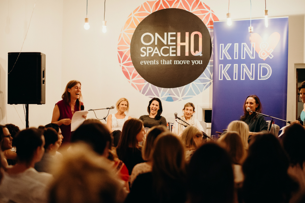 Kin and Kind evening discussion:  Raising Kind and Grateful Kids . Sydney 2017   Pictured here with Josie Jones from Kin and Kind and the panel including Rachel Spitzer, Claudia Bowman and Ruth Tofler-Reisel. Photo: Ellen Tang from Studio Something