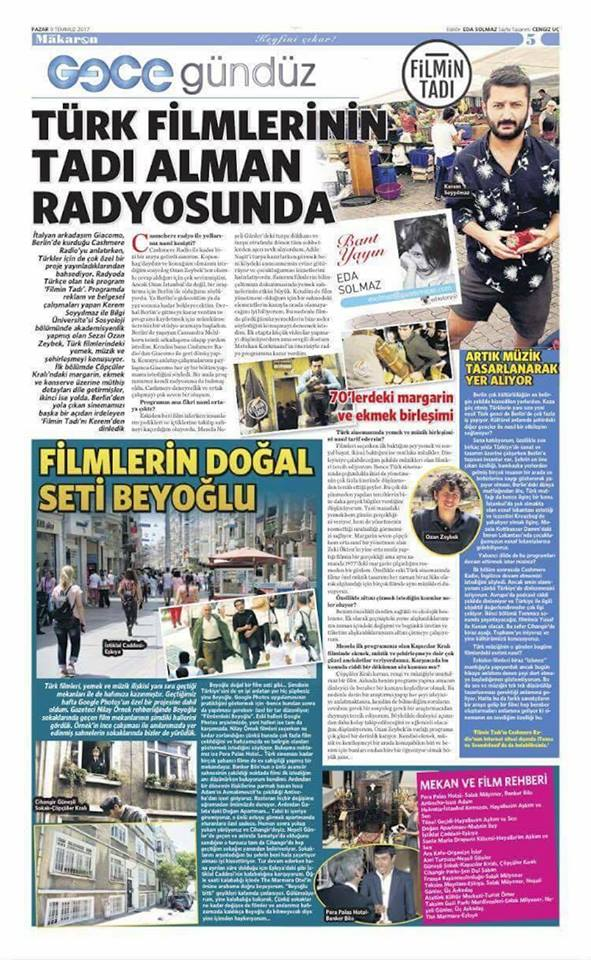 Our talk show published in Vatan Newspaper July 2017 (Eda Solmaz)