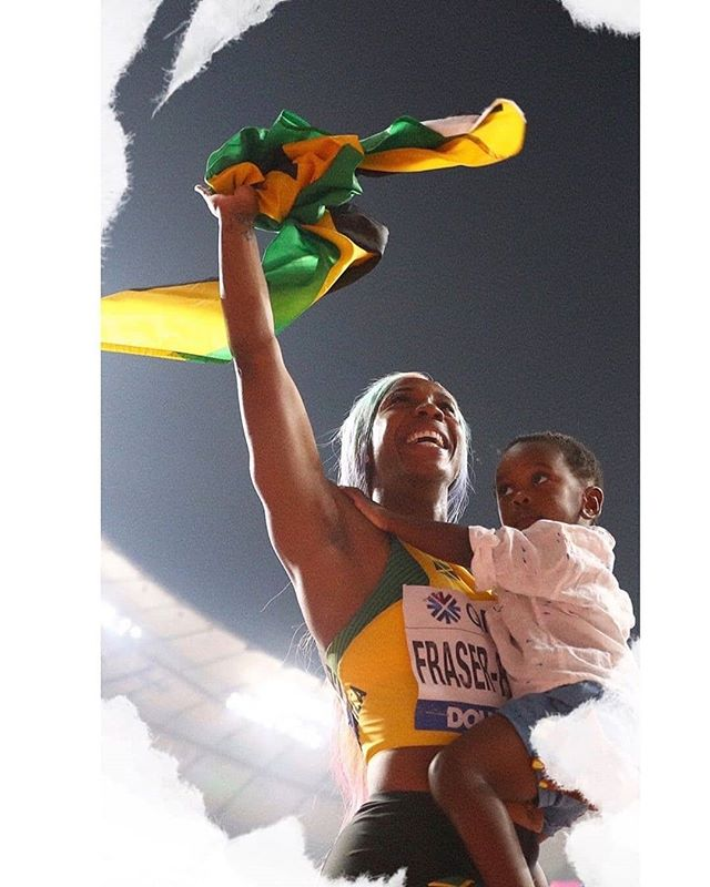 LOVE ♥️♥️♥️🇯🇲 @realshellyannfp (@get_regrann) -  There are so many things I would love to say but simply put no one, absolutely no one gets to write your story but you! It's done over time, at your own pace and sometimes with disappointments but it's the ending that matters.  We are all created equals but we are unique, with our own talents and abilities and we are meant to shine differently but we are the same. We are as people special women and men who are built to overcome and built for greatness, if we persevere.  Two years ago giving birth to Zyon changed me. Two years ago I lost a loved one and two years ago I was broken. But yet I RISE... I am so grateful for the outpouring of love from my friends, family, fellow athletes, supporters and sponsors over the years. Your belief and encouragement gave me strength. But I am even  more grateful for those girls who will come after me or the women who are still holding their own and working on their greatness in their own way and never trying to be anyone but themselves!  I am humbled to be filling my shoes with my potential, fill yours and never stop for anyone and do it with all your heart and all your courage, and do it well🙏. The story continues... -  #MommyRocket #BeandBecomeExtraOrdinary #BeYou #OutDoYou #iaafdoha2019  @gracefoods  @digiceljamaica  @nikewomen 🚀🚀🚀🚀