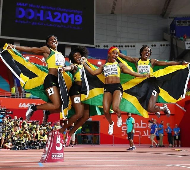 Perfect! #TeamJamaica 🇯🇲 all the way! So proud of team!🧡🧡🧡🧡😀 📷: TVJ