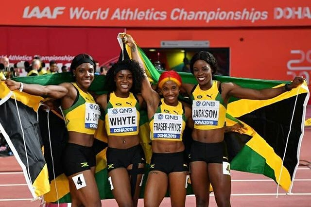 BOOM!  GOLD for #TeamJamaica 🇯🇲 in Womens 4x100M Final. Jonielle Smith, Natalliah Whyte, Shelly-Ann Fraser-Pryce and Shericka Jackson secured victory with a time of 41.44 seconds. Congrats! 🙌🏾 #Doha2019 (📸 AFP Photo/ANDREJ ISAKOVIC)  Source: Team Jamaica