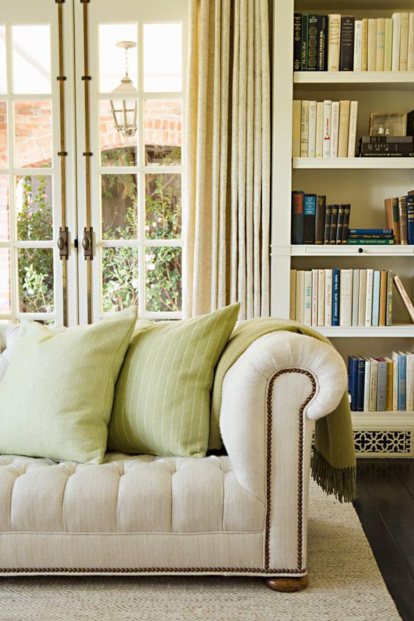 TATTERSALL - CELERY (left cushion)  GORDON STRIPE - CELERY (right cushion)