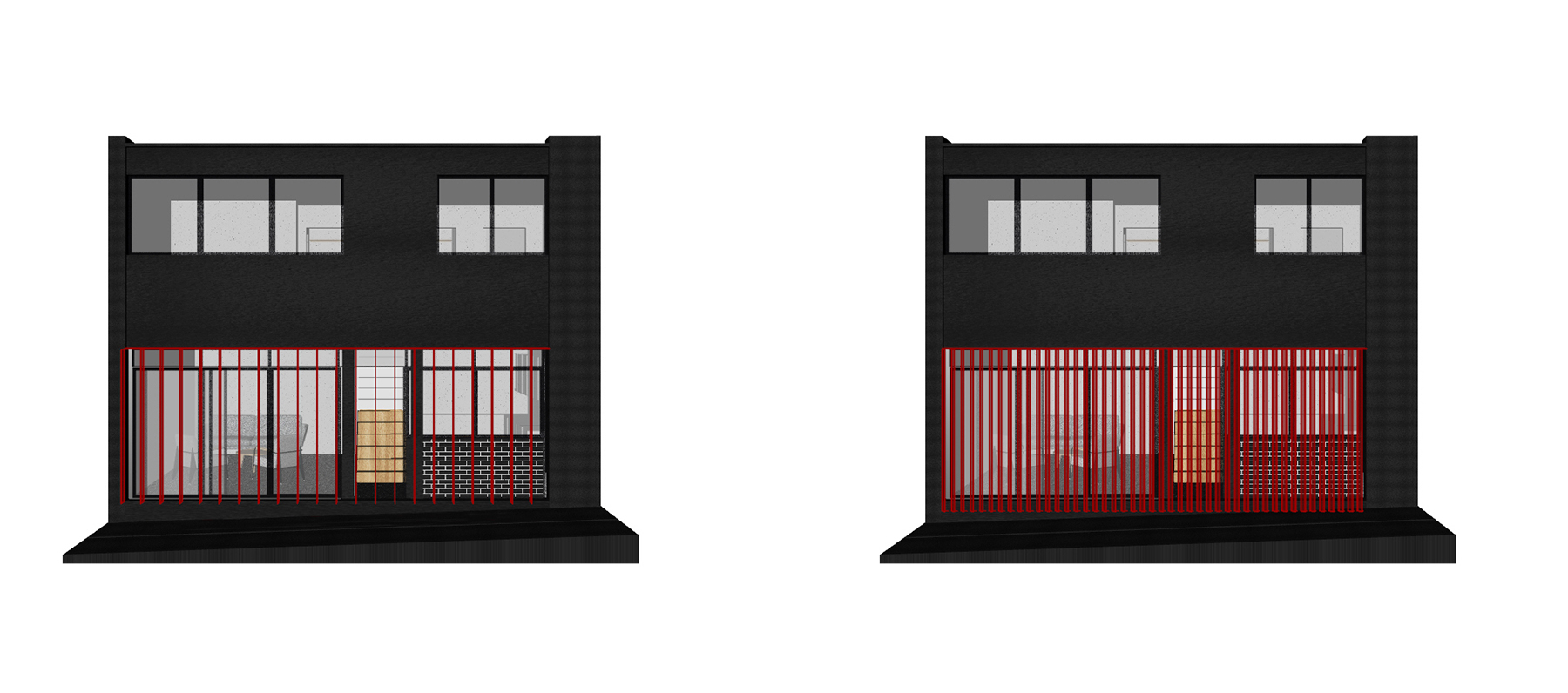 Two design iterations for louvre spacing, depth and orientation in Belsize Park Mews.