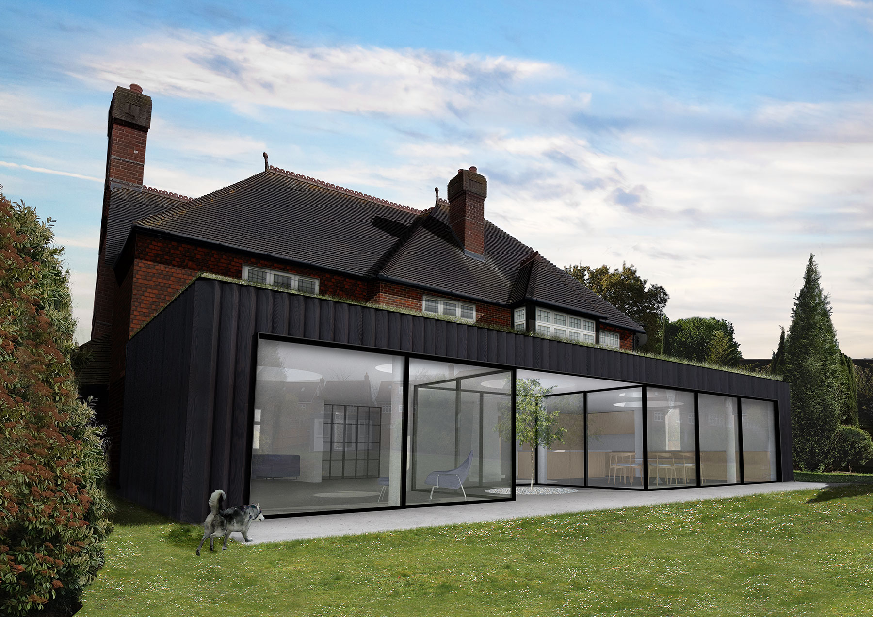 Large single storey rear extension designed by us for O-House, South London.