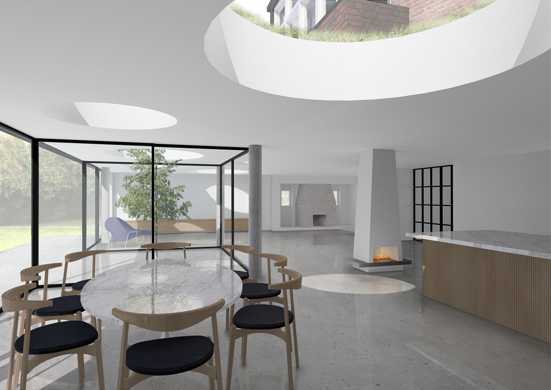 Interior visualisation of a large single storey rear extension at O-House, South London. The client came to us with a brief to open up the ground floor layout as far as possible to create a large, free-flowing kitchen and living space for entertaining whilst maximising opportunities for daylight and sunlight where the rear of house is North-West facing.