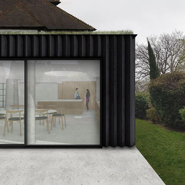 Very pleased to have received planning approval for this large extension to a detached house and looking forward to developing the design together with our client. Clad in charred timber, the extension adds 80sq.m to the house. Part of the footprint is external , blurring the boundaries between inside and out and bringing the garden into the living space.