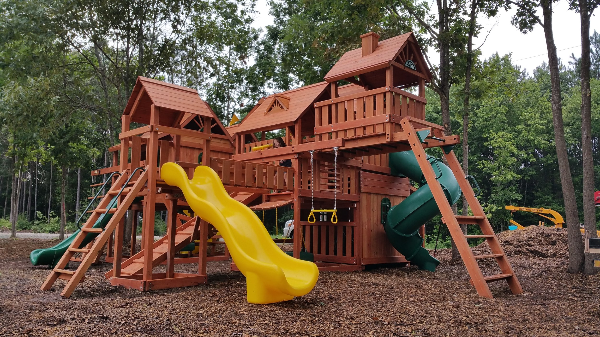 The Pangea. Confirmed as one of the biggest residential wooden swing sets east of the Mississippi.