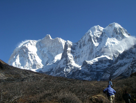 Day hike from our Kangbachen camp with guide Lal Bahadur upward to Jannu Himal.  Photo by Janita Gurung.
