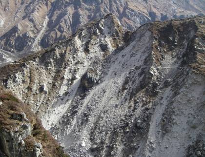 Trail across landslide, near Kangbachen village.