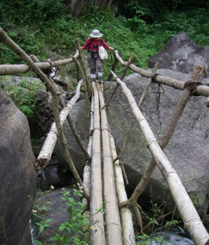Jenny crossing bridge with the ease of a Kanchenjunga trekking pro that she is.