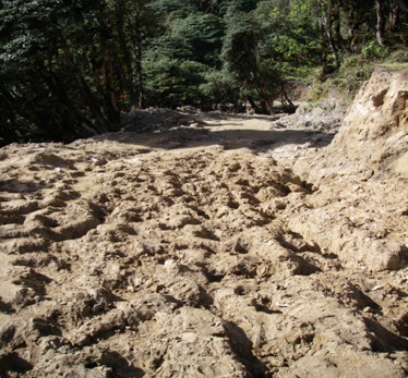 Heavy monsoon rains leave roads and trails scarred with ruts.