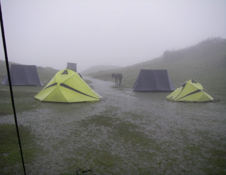 Monsoon conditions continued well into October, flooding our camp and marooning us in Gupha Pokhari for several days.
