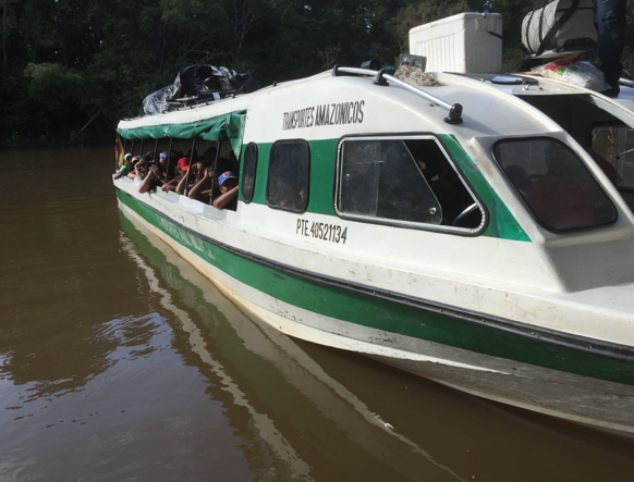 "Boat from Leticia down the Amazon to Amacayacu River ""bus stop."" Colombia, 2015."