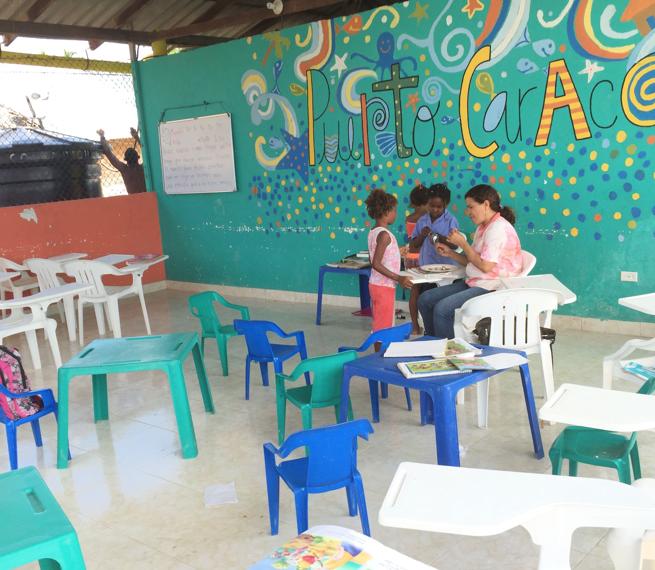 School in fishing village, Isla Mucura Island, Colombia, 2016.