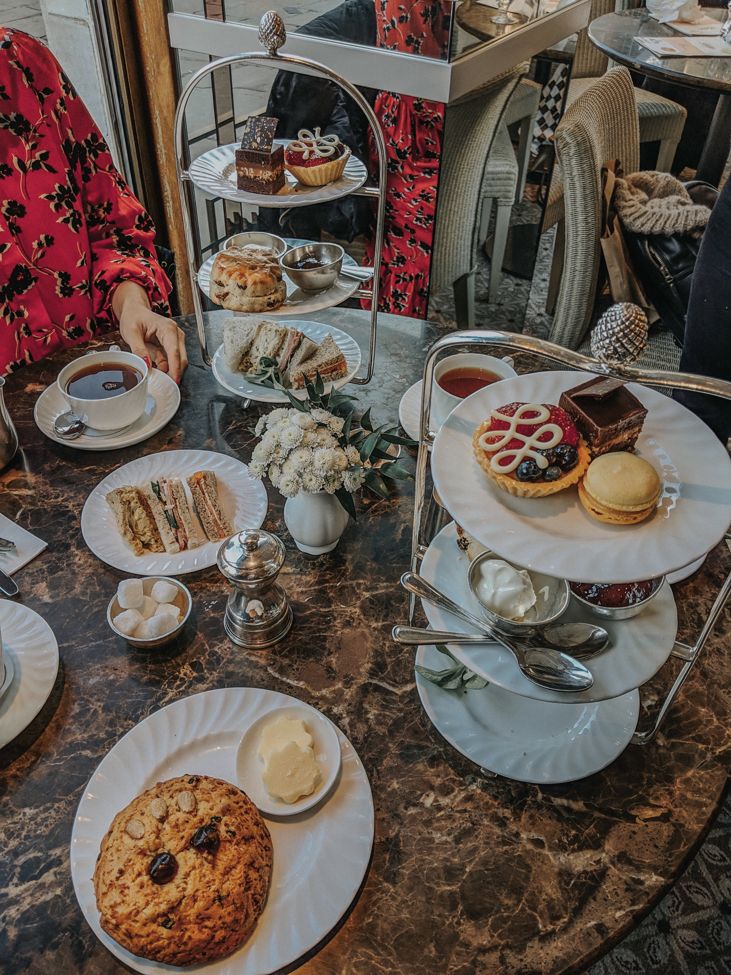 Classic afternoon tea. That's the fat rascal in the front.