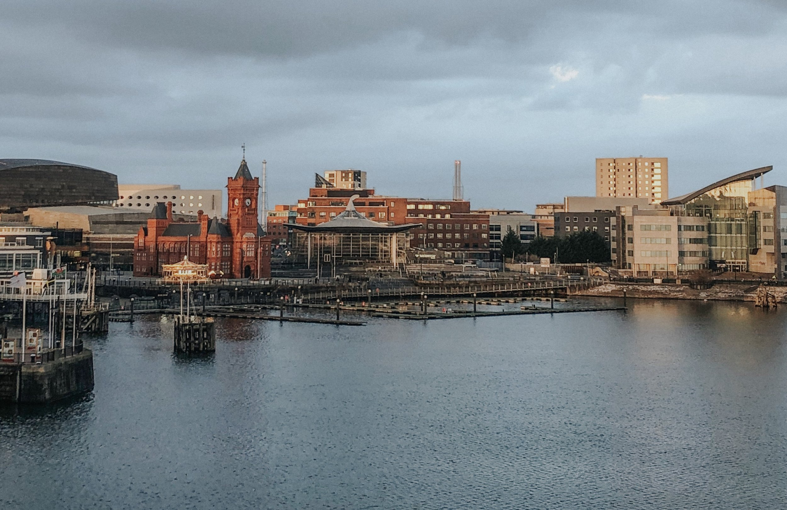 View of Cardiff Bay + Port of Cardiff from my hotel room