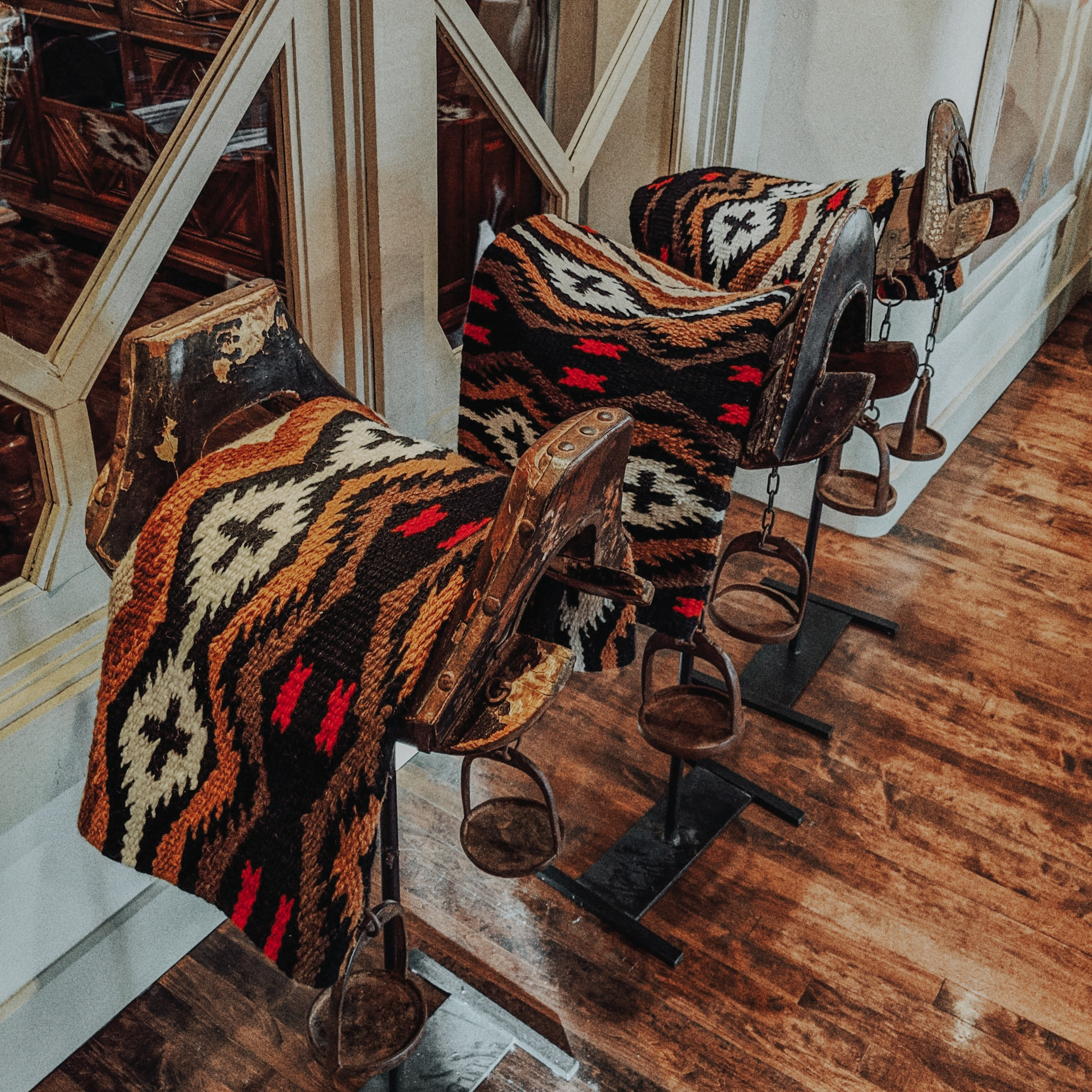 Beautifully preserved saddles once used for cattle ranching