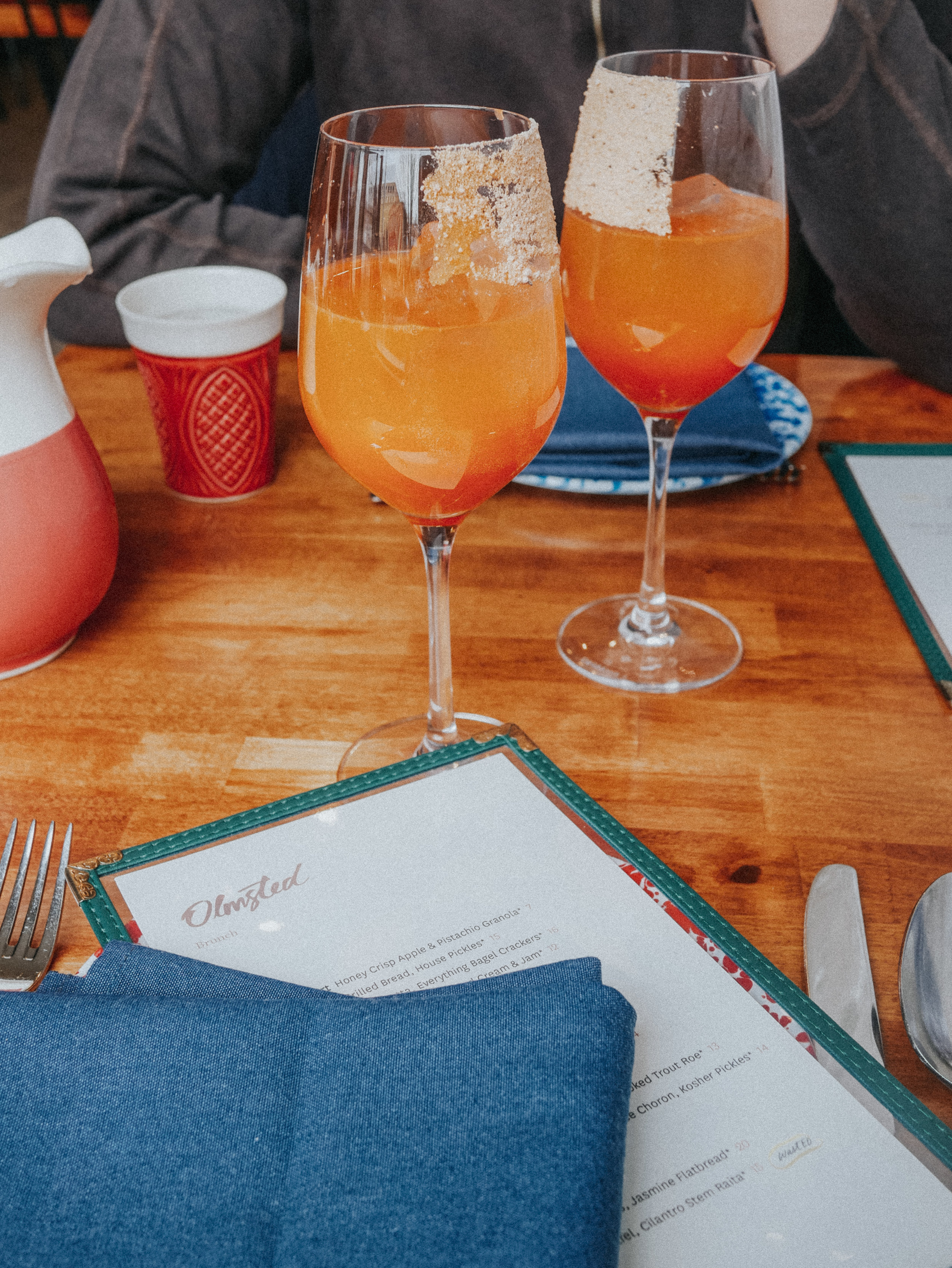 Carrot juice mimosas — maybe the only kind of mimosas I'll ever drink