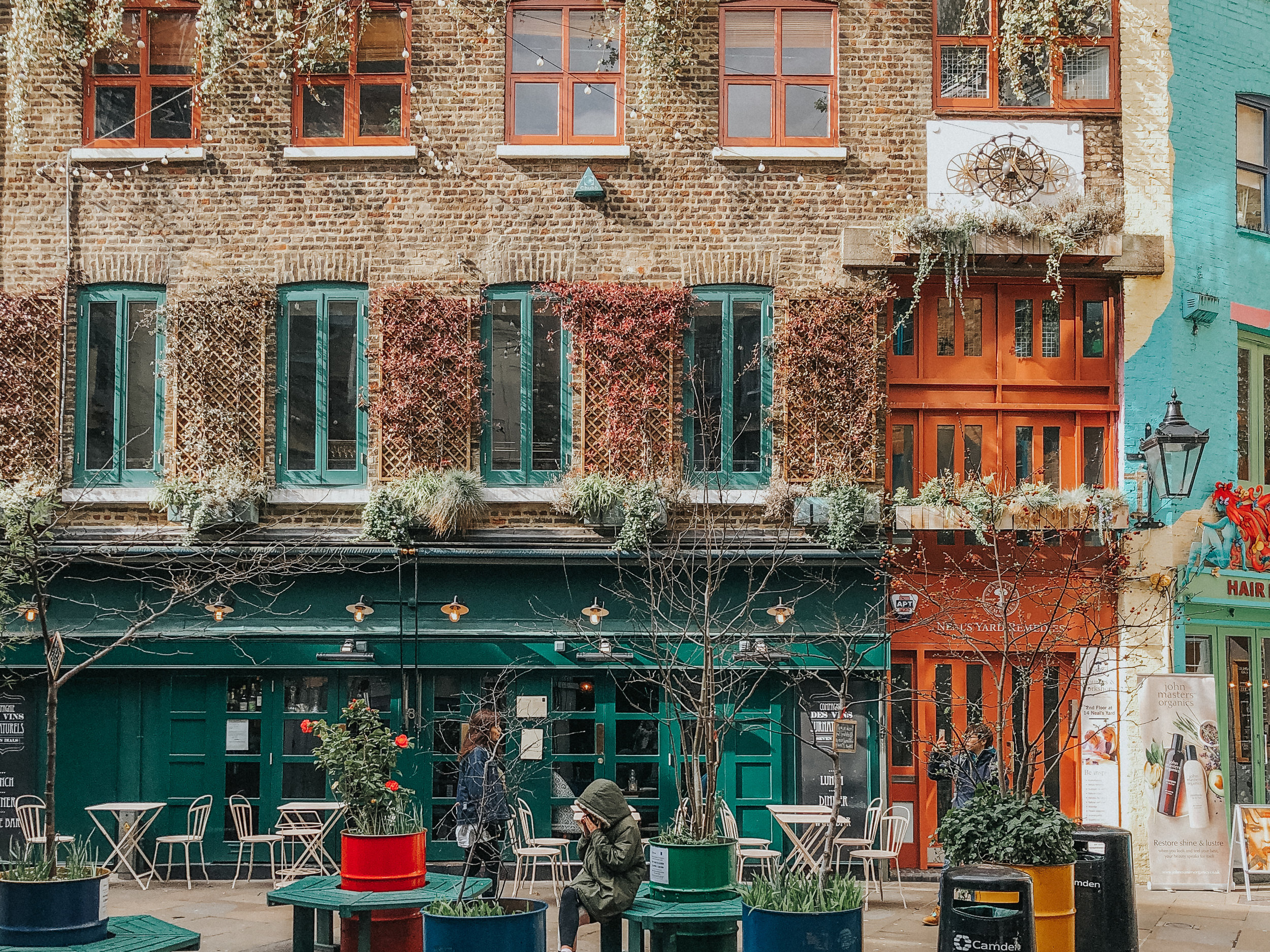 Neal's Yard is a little courtyard tucked away in a side street in Covent Garden. It's here where you can find the eponymous Neal's Yard Remedies store among other cafés and shops specializing in health and wellness.