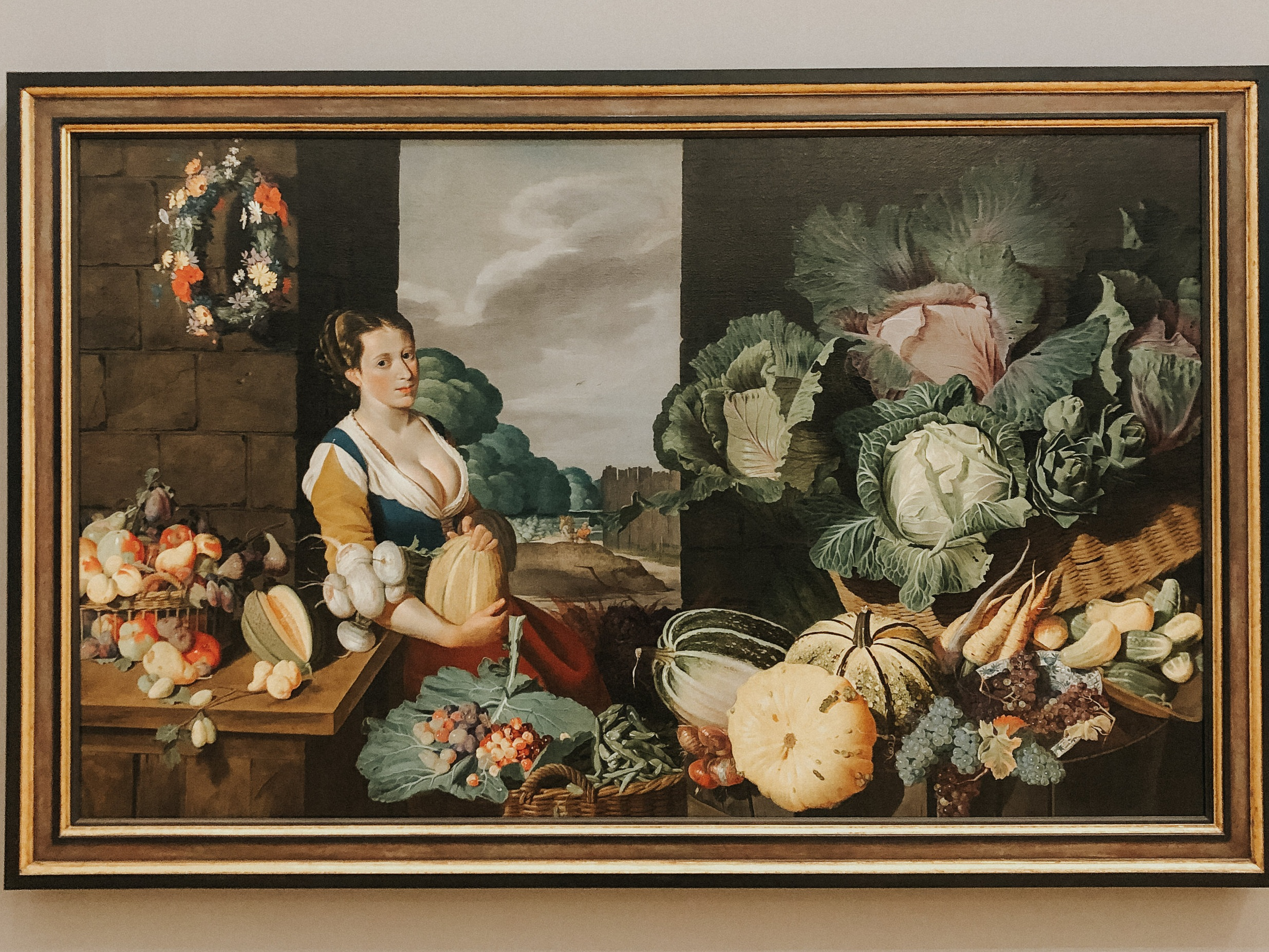 Cookmaid with Still Life of Fruits and Vegetables by Sir Nathaniel Bacon. I haven't stopped thinking about this painting.