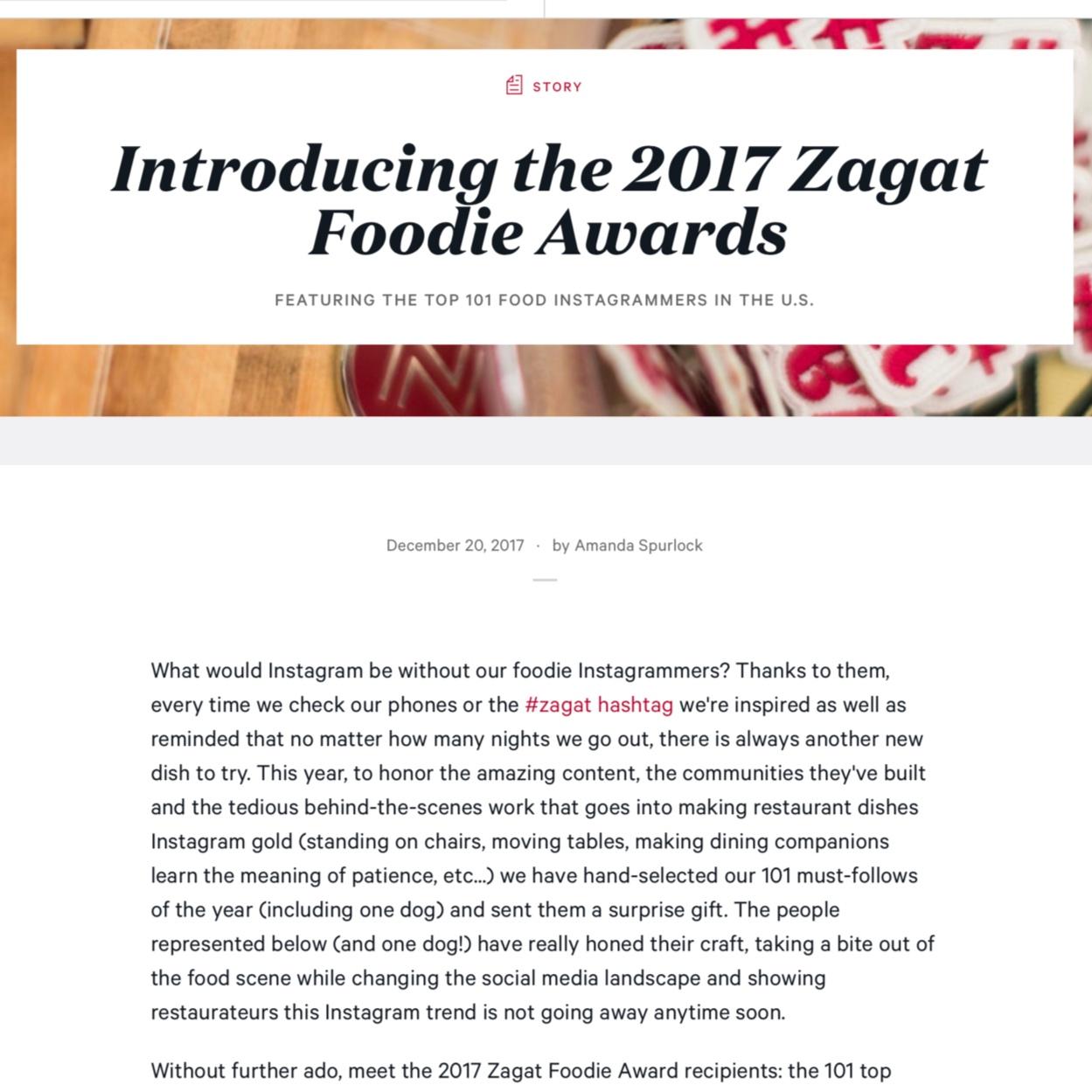 Zagat Foodie Award 2017