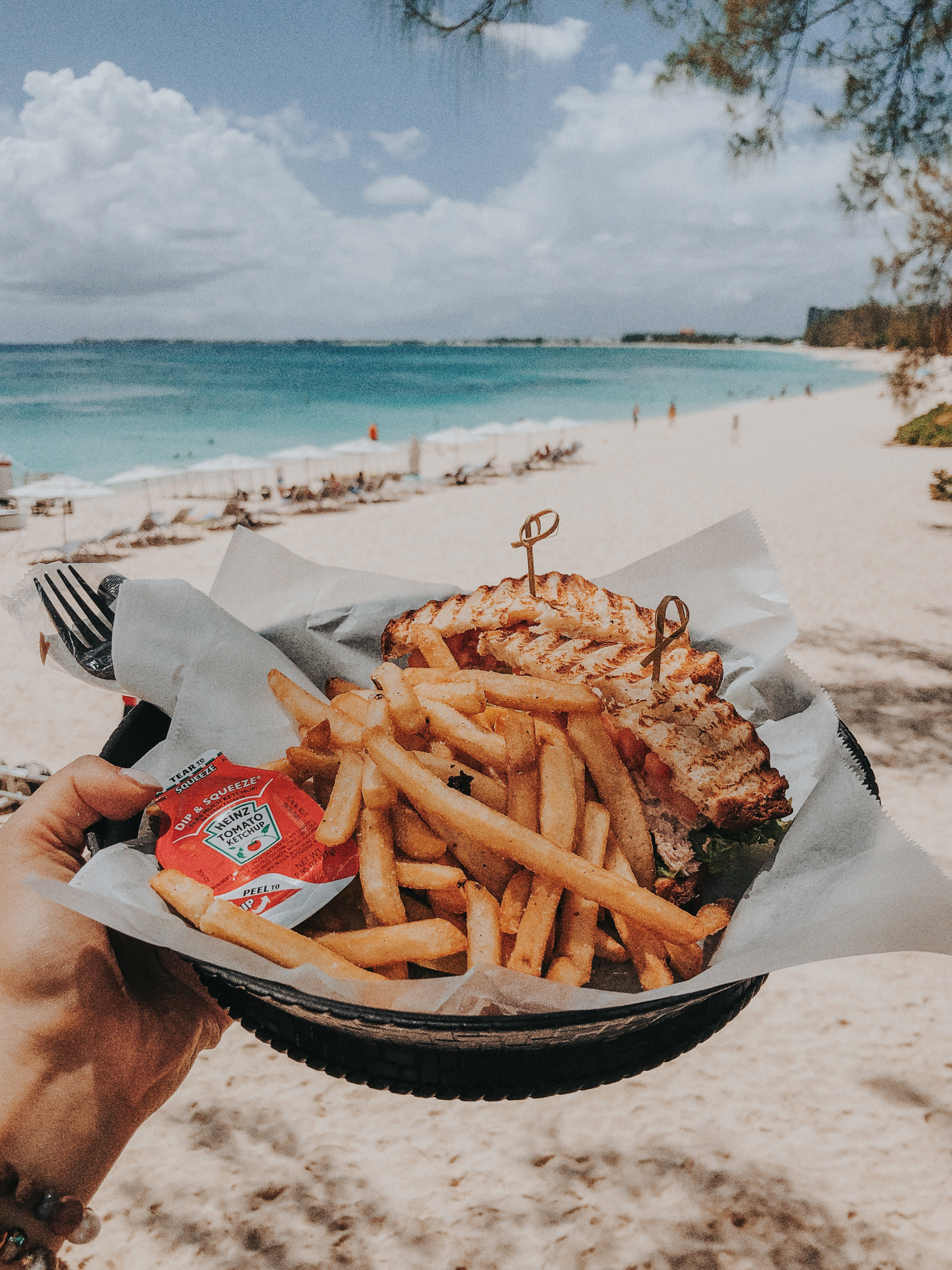 Gluten-free tuna salad sandwich with fries post-water fun