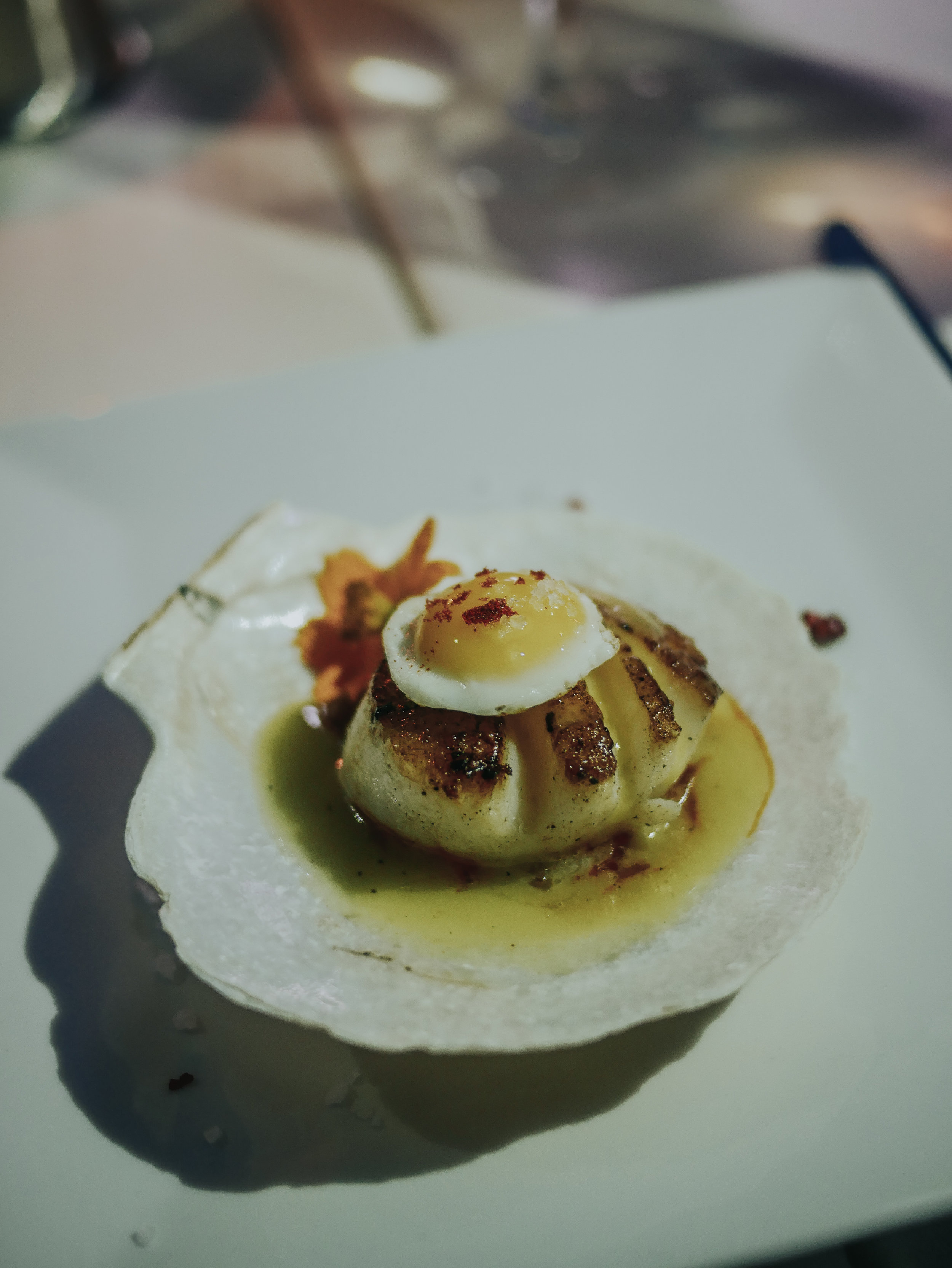 Diver scallops with quail egg