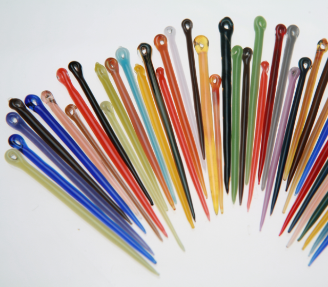 Needles & Tools - Glass Needles and Tools Make Creating A Joy! The color palette we use is very diverse. You can purchase a closure and then choose a fiber to match or you can send us a sample of your project and we can match the closure to your fiber.