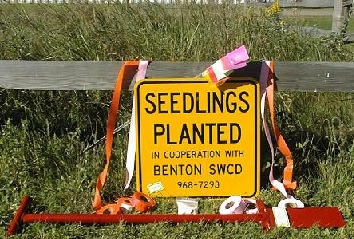 "Marker Flags  - $18.50 per bundle, plus tax - 100 flags per bundle variety of colors available   Marker Ribbon  - $3.00 per roll, plus tax - Pink and Orange available   Super Sorb  - $4.00 per package, plus tax - 1 package treats an estimated 750 trees   Reflective ""Seedlings Planted"" Signs  - $16.00 plus tax (18""x18"") $7.00 plus tax (11.25"" x 11.25"")   Fabric Tree Mats  - $30.00 per bundle, plus tax - 25 mats per bundle - pre-cut hole in middle of mat   Staples  - $9.00 per pack, plus tax - 100 staples per pack   Tree Planting Bars  - Rent: $4.00 per day, plus tax, and $30.00 deposit.  To Buy: $30.00 plus tax   Tree Tubes  - Benton SWCD does not carry tree tubes at this time. To learn more about tree tubes or to place an order, please visit the Traverse SWCD  website ."